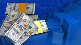 3d de pile des dollars Photo stock