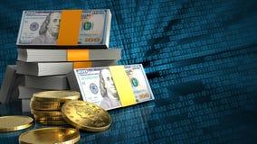 3d de pile des dollars Photos libres de droits