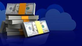 3d de pile des dollars Image libre de droits