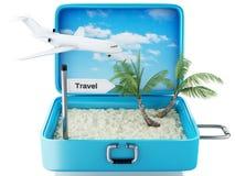 3d de reiskoffer van het paradijsstrand Witte achtergrond Stock Foto