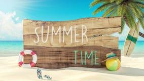 3d de Vakantie van de de zomertijd geeft terug vector illustratie
