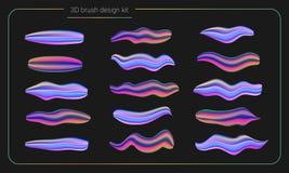 3d de verfreeks van de vlekkenborstel De vloeibare slagen van de kleurenverf streeppenseel Vector ontwerpelementen Moderne borste Royalty-vrije Stock Afbeelding