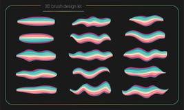 3d de verfreeks van de vlekkenborstel De vloeibare slagen van de kleurenverf streeppenseel Vector ontwerpelementen Moderne borste Stock Afbeelding