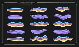 3d de verfreeks van de vlekkenborstel De vloeibare slagen van de kleurenverf streeppenseel Vector ontwerpelementen Moderne borste Stock Foto
