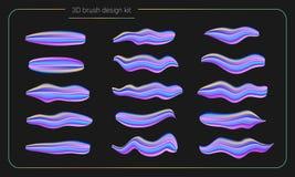 3d de verfreeks van de vlekkenborstel De vloeibare slagen van de kleurenverf streeppenseel Vector ontwerpelementen Moderne borste Royalty-vrije Stock Fotografie