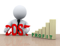 3d de verminderingsconcept van zakenmankosten Stock Fotografie