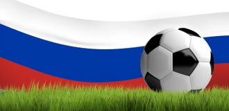 3d de vlag van de balrusland van de sportvoetbal geeft terug Stock Afbeelding