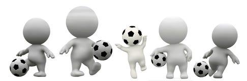 3d de voetballer geeft terug; 3d illustratie royalty-vrije illustratie