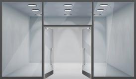 3d de winkel lege binnenlandse realistische vensters van opslag plaatsen de voor open deuren van het malplaatjemodel vectorillust vector illustratie
