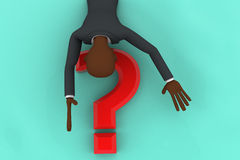 3d dead bald head man floating on red question mark concpet Royalty Free Stock Photography