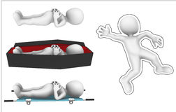 3d dead man in coffin. Royalty Free Stock Photo