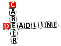 3D Deadline Career Crossword. On white background Stock Photos