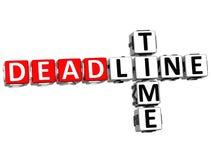 3D Deadline Time Crossword. On white background Stock Photography