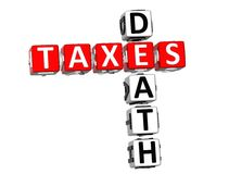 3D Death Taxes Crossword. On white background Stock Photo