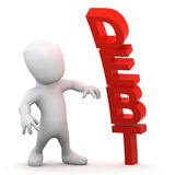 3d Debt man. 3d render of a little person next to the word DEBT Stock Photo