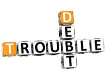 3D Debt Trouble Crossword Stock Photo