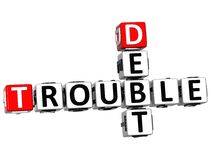 3D Debt Trouble Crossword Stock Photography