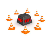 3D Debt Weight Surrounded by Orange Cones Royalty Free Stock Photo