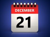 3d 21 december calendar. 3d illustration of 21 december calendar over blue background Royalty Free Stock Photo