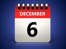 3d 6 december calendar vector illustration