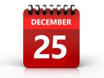 3d 25 december calendar. 3d illustration of december 25 calendar over white background Stock Images