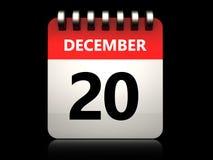 3d 20 december calendar. 3d illustration of 20 december calendar over black background Royalty Free Stock Photo
