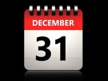 3d 31 december calendar. 3d illustration of 31 december calendar over black background Stock Photo
