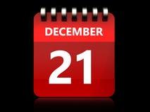 3d 21 december calendar. 3d illustration of december 21 calendar over black background Royalty Free Stock Images