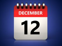 3d 12 december calendar. 3d illustration of 12 december calendar over blue background Royalty Free Stock Image