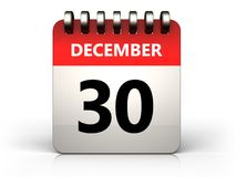 3d 30 december calendar Royalty Free Stock Image