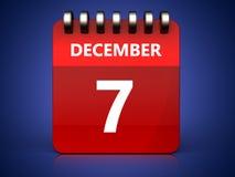 3d 7 december-kalender Royalty-vrije Stock Afbeelding
