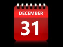 3d 31 december-kalender Royalty-vrije Stock Afbeelding