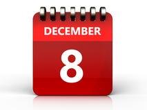 3d 8 december-kalender Stock Fotografie