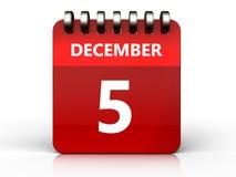 3d 5 december-kalender Stock Fotografie