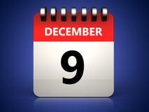 3d 9 december-kalender stock illustratie