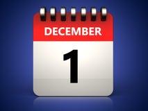3d 1 december-kalender Royalty-vrije Stock Afbeelding