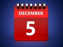 3d 5 december-kalender Stock Afbeeldingen