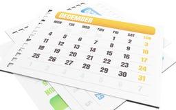 3d December-maandscheur van kalender Royalty-vrije Stock Afbeelding