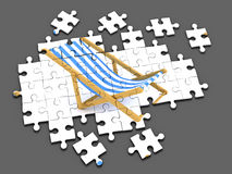 3d Deck chair jigsaw puzzle Royalty Free Stock Photography