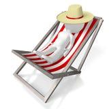 3D deckchair, sunbathing concept Stock Photography