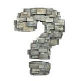 3d deckte BauholzFragezeichenform auf Weiß mit Ziegeln Lizenzfreie Stockbilder