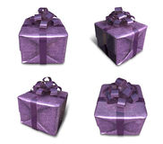 3d decorated anniversary present with purple ribbon Stock Photos