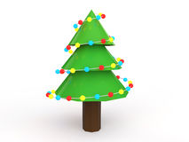 3d decorated Christmas tree Stock Photo