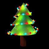 3d decorated Christmas trees with lights Royalty Free Stock Images
