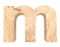 3D decoratief houten Alfabet, kleine letter M stock illustratie