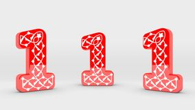 3d Decoration Red Number Collection - 1 Stock Photo