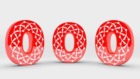 3d Decoration Red Number Collection - 0 royalty free stock photography