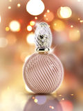 3D decorative perfume bottle on a bokeh lights background Royalty Free Stock Photos