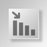 3D Decreasing Stats icon Business Concept. 3D Symbol Gray Square Decreasing Stats icon Business Concept Royalty Free Stock Image