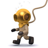3d Deep sea diver walks along the bottom Royalty Free Stock Image